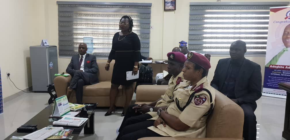 FRSC in courtesy visit to OIRS, OIRS BS delivering her speech